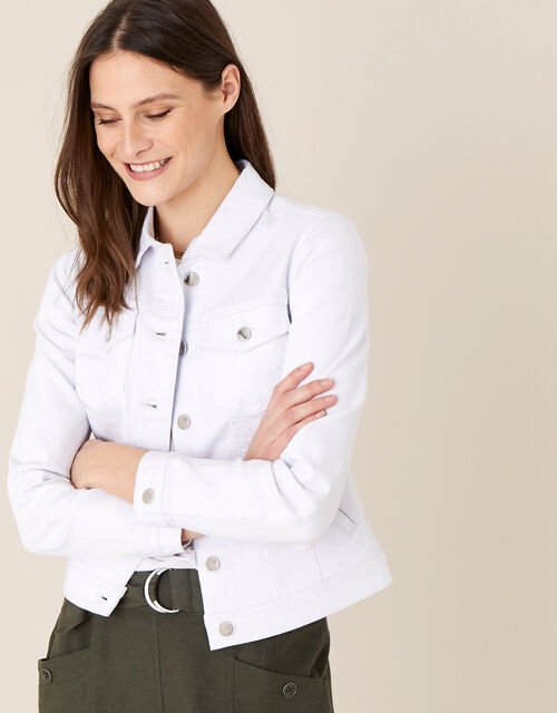 Willow Denim Jacket, White (WHITE), large