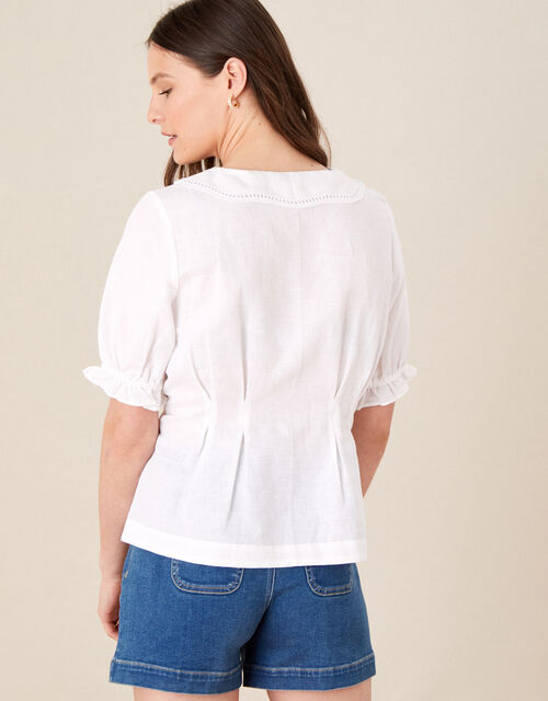 Embroidered Collar Puff Sleeve Blouse, White (WHITE), large