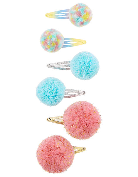 Rainbow Pom-Pom Hair Clip Set, , large