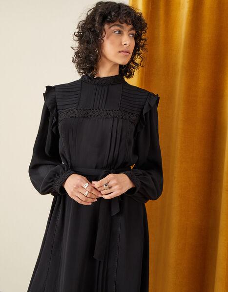 Victoriana Lace Trim Dress Black, Black (BLACK), large