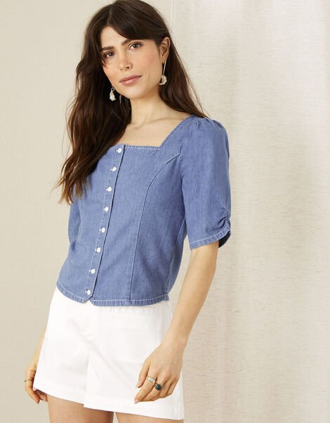 Square Neck Denim Top Blue, Blue (DENIM BLUE), large