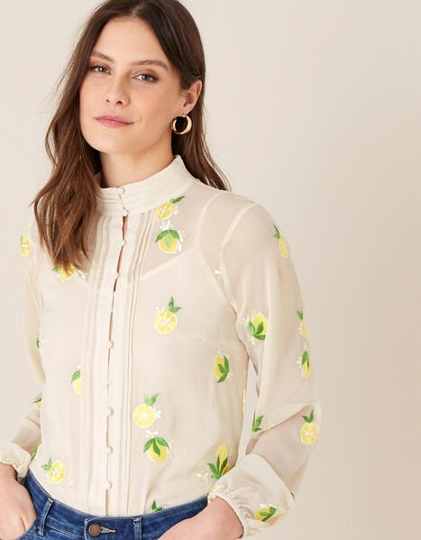Claire Embroidered Lemon Blouse Nude, Nude (NUDE), large