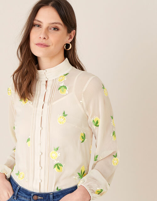Claire Embroidered Lemon Blouse, Nude (NUDE), large