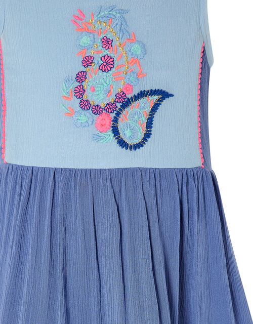 Paisley Embroidered Frill Maxi Dress, Blue (BLUE), large