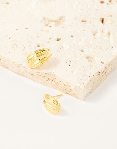 Gold-Plated Textured Studs, , large