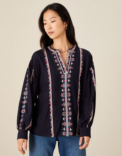 Stripe Embroidered Blouse in LENZING™ ECOVERO™ Blue, Blue (NAVY), large