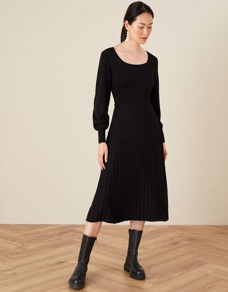 Square Neck Pleated Dress Black, Black (BLACK), large