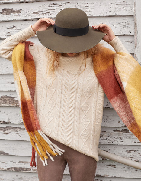 Statement Split Neck Cable Knit Jumper Cream, Cream (CREAM), large