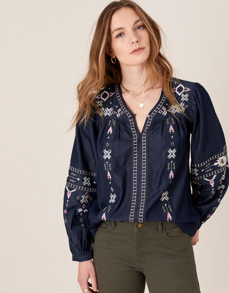 Boho Embroidered Blouse in Pure Cotton Blue, Blue (DENIM BLUE), large