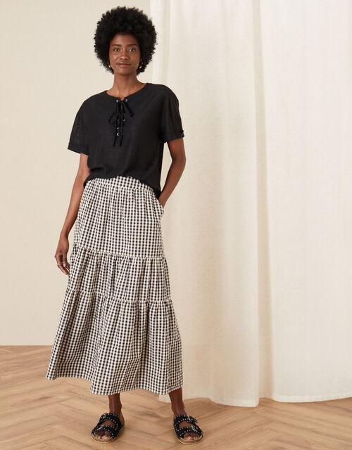 Lace-Up Neck T-Shirt, Black (BLACK), large
