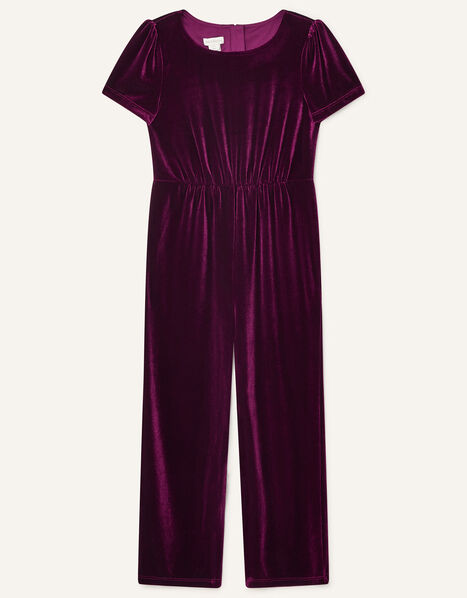 Stretch Velvet Jumpsuit Red, Red (BURGUNDY), large