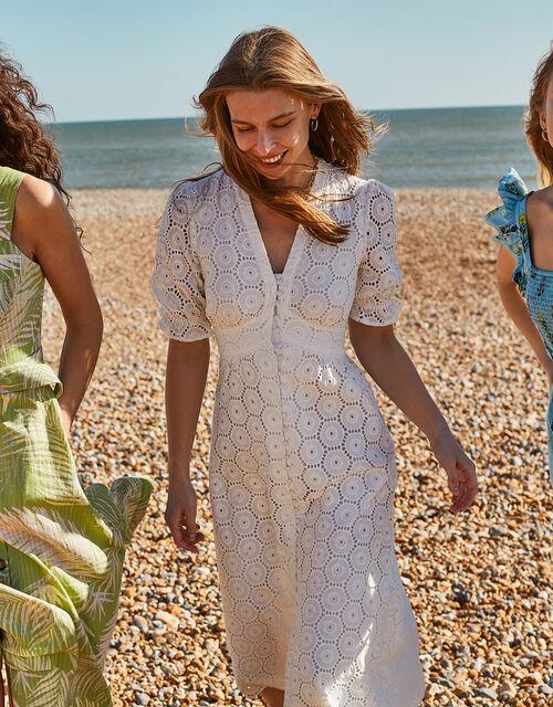Mia Broderie Tea Dress, Ivory (IVORY), large