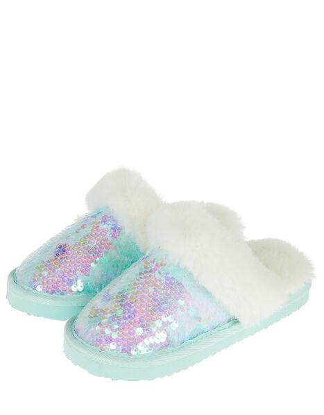Irridescent Sequin Fluffy Slippers Multi, Multi (MULTI), large