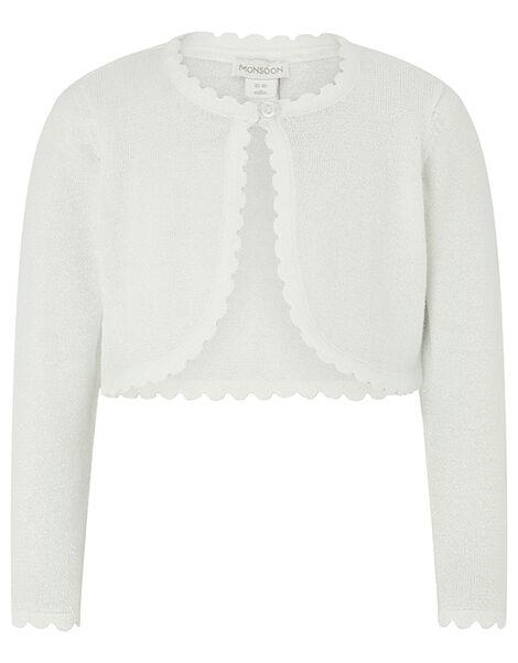 Baby Niamh Cropped Sparkle Knitted Cardigan Ivory, Ivory (IVORY), large