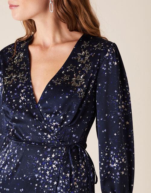 Ditsy Star Print Embellished Wrap Dress, Blue (NAVY), large