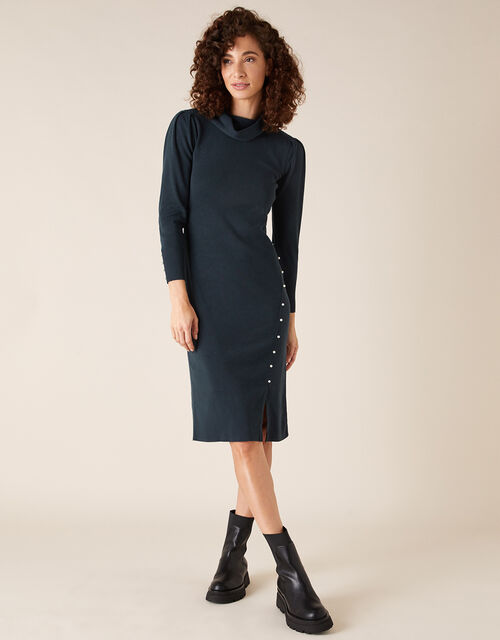 Pearl Button Cowl Neck Knit Dress, Teal (TEAL), large