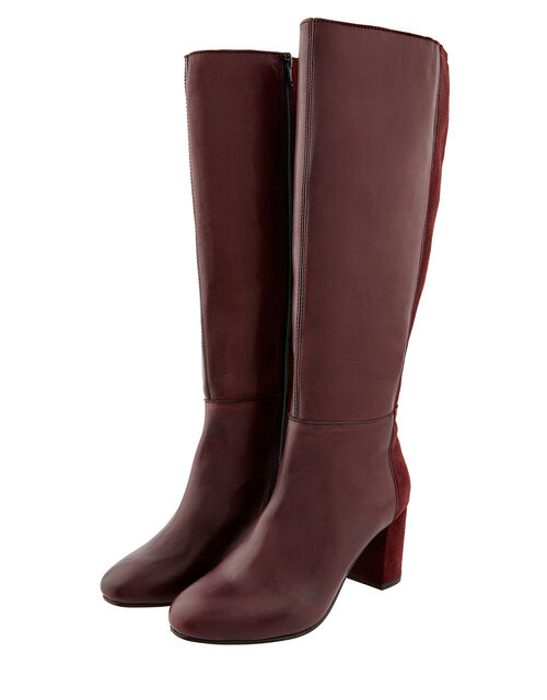 Robyn Long Leather and Suede Boots, Red (BURGUNDY), large