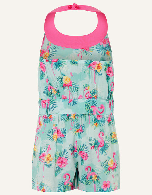 Flamingo Playsuit in Organic Cotton, Blue (AQUA), large