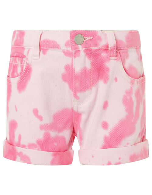 Tie Dye Denim Shorts, Pink (PINK), large