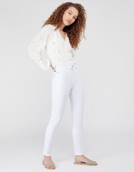 Iris Skinny Jeans with Organic Cotton and Recycled Polyester White, White (WHITE), large