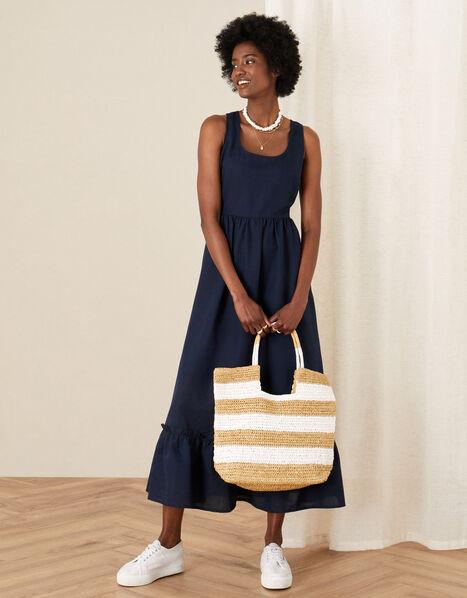 Frill Hem Dress in Linen Blend Blue, Blue (NAVY), large
