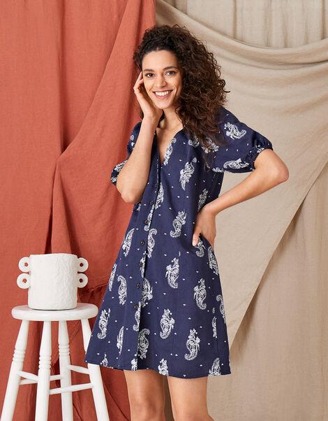 Heritage Print Dress in Linen Blend Blue, Blue (NAVY), large
