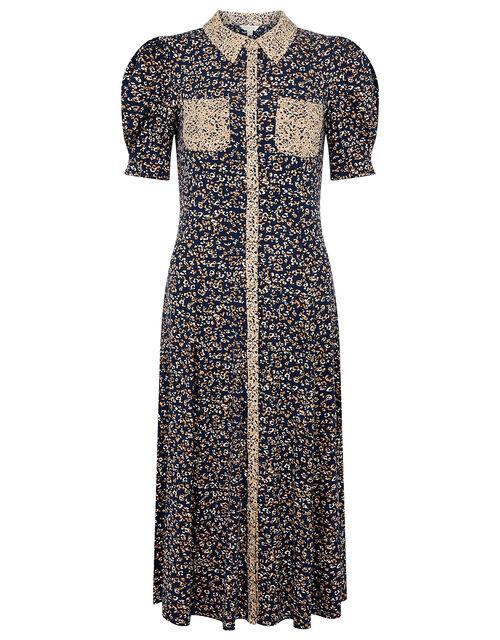 Animal Print Jersey Shirt Dress, Blue (NAVY), large