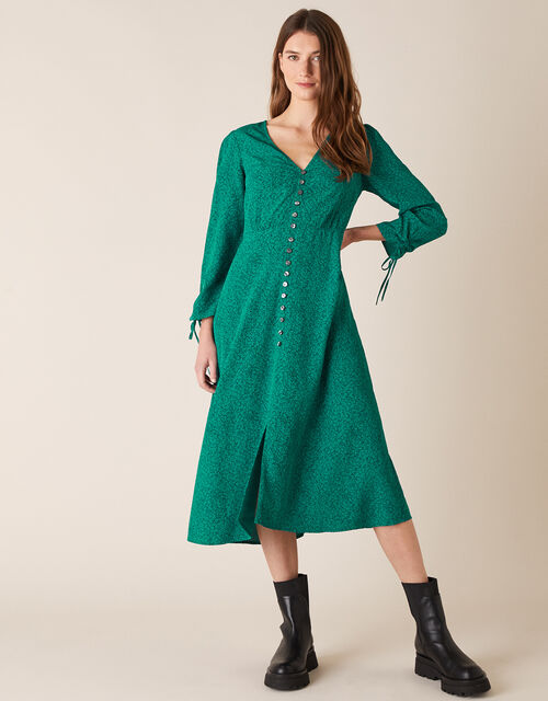 Printed Midi Dress in Sustainable Viscose, Green (GREEN), large
