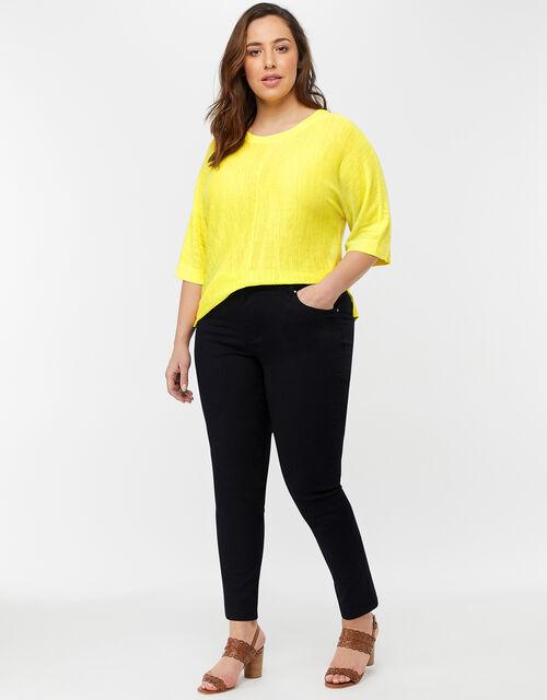 Corina Split Hem Jumper in Linen Blend, Yellow, large