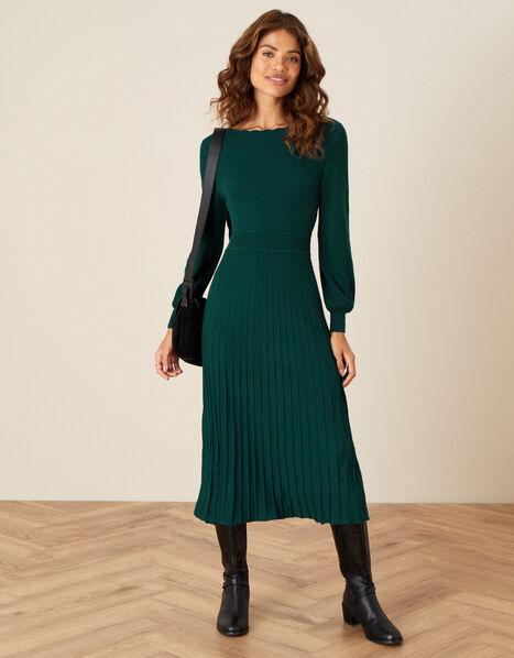 Scallop Neck Dress Teal, Teal (TEAL), large