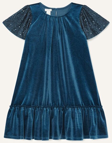 Sequin Velvet Swing Dress Teal, Teal (TEAL), large