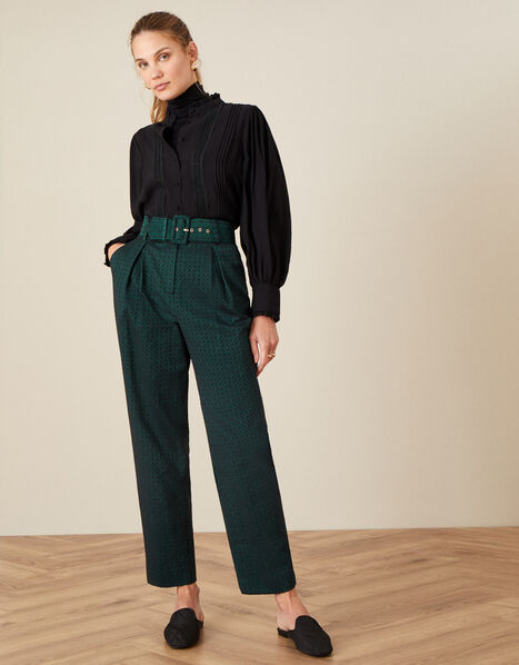 Hattie Jacquard High Waisted Trousers Green, Green (GREEN), large