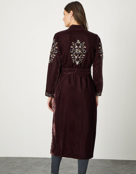 Cleo Velvet Embroidered Kimono Brown, Brown (CHOCOLATE), large
