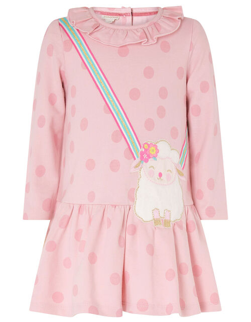 Baby Sheep Sweat Dress in Organic Cotton  , Pink (PINK), large