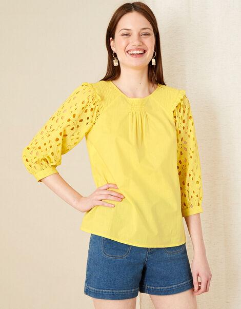 Schiffli Top Yellow, Yellow (YELLOW), large