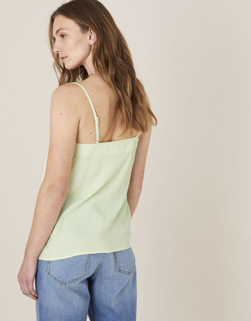 Pleated Trim Cami with Sustainable Viscose, Green (GREEN), large