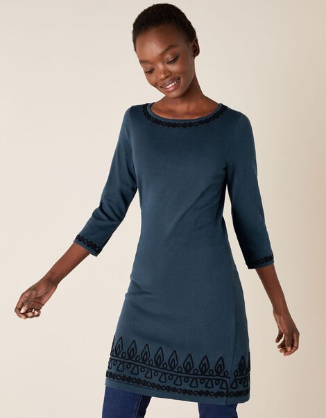 Cornelli Trim Knit Dress Teal, Teal (TEAL), large