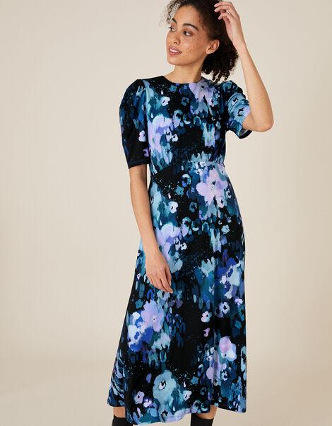 Mason Blurred Floral Midi Dress Blue, Blue (BLUE), large