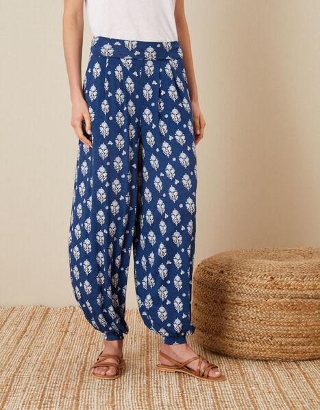 Woodblock Print Hareem Trousers Blue, Blue (NAVY), large