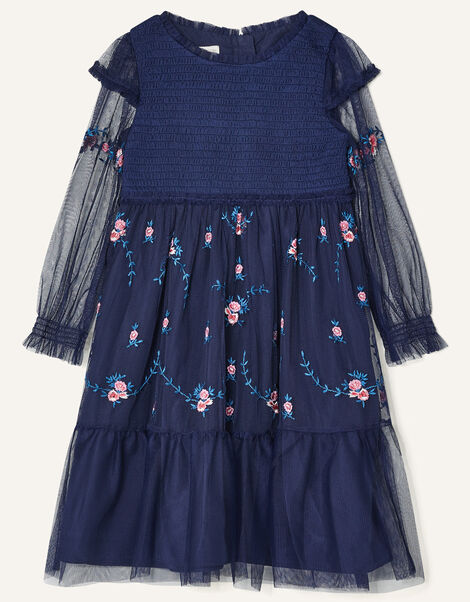 Floral Embroidered Long Sleeve Dress Blue, Blue (NAVY), large