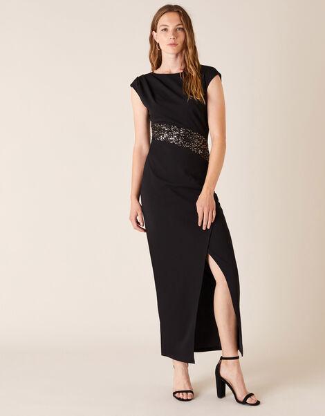 Olive Sequin Stretch Maxi Dress Black, Black (BLACK), large