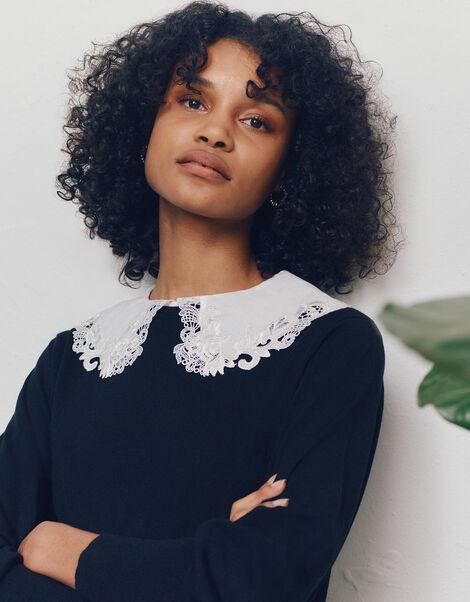 Embroidered Collar Jumper Black, Black (BLACK), large