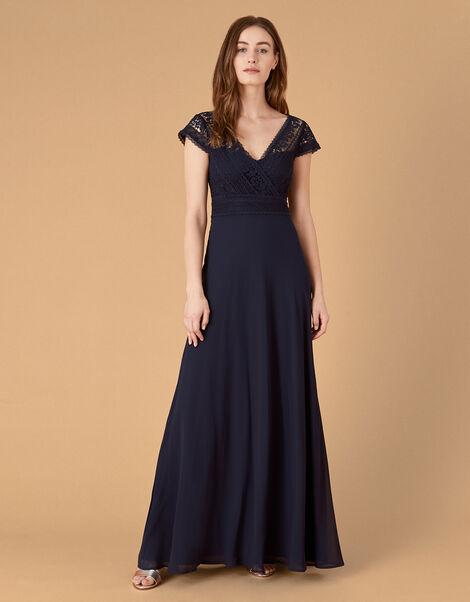 Julie Lace Bodice Maxi Dress Blue, Blue (NAVY), large