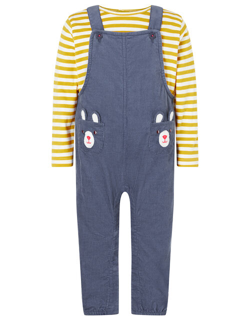 Newborn Baby Bear Dungarees Set, Blue (BLUE), large