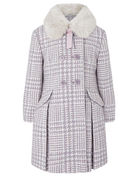 Dogtooth Tweed Coat Purple, Purple (LILAC), large