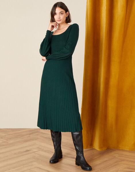 Square Neck Midi Dress Green, Green (DARK GREEN), large