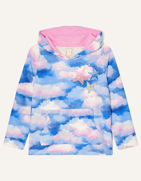 Sequin Star Cloud Print Hoody Multi, Multi (MULTI), large