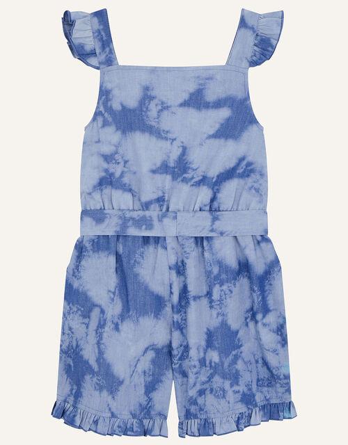 Sequin Rainbow Tie Dye Playsuit, Blue (BLUE), large