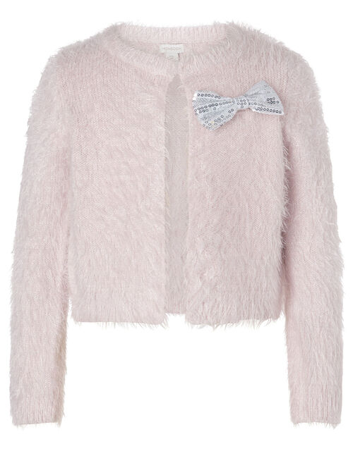 Sequin Bow Fluffy Bolero, Pink (PALE PINK), large