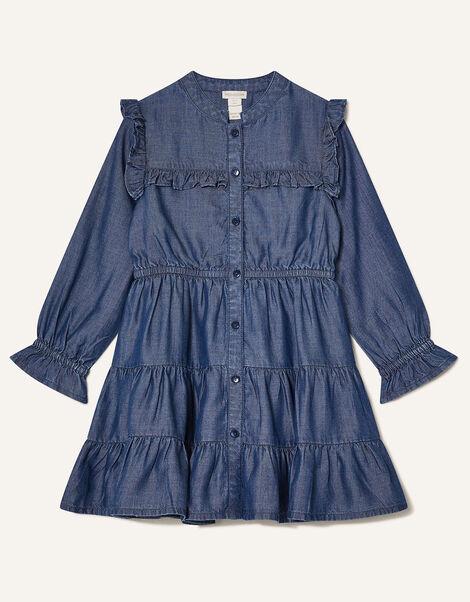 MINI ME Samson Tiered Denim Dress Blue, Blue (BLUE), large